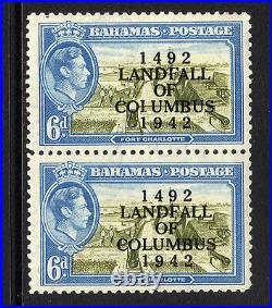 BAHAMAS 1942 6d WITH'COIUMBUS' VARIETY SG 169a MINT