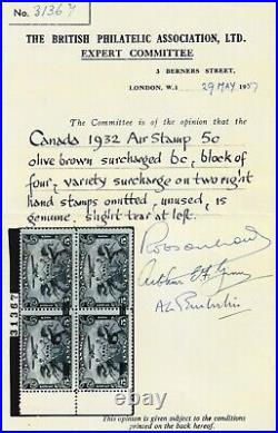Canada Sc #C3d (1932) 6c on 5c Airmail Pair withSurcharge Omitted Variety Mint H
