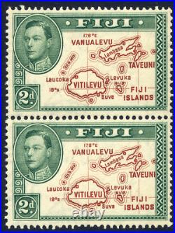 Fiji 1938-55 Kgvi Definitive 2d Pair With Extra Line Variety Fine Unmounted Mint