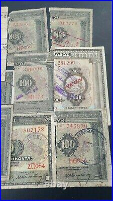 GREECE LOT x 11 Half 2 1/2% Loan Notes Variety Bank Stamps EXTREMELY RARE