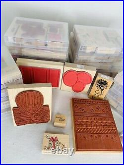 Huge Lot 120 Wood Block Rubber Stamps Variety Holiday Borders with Clamshell Boxes
