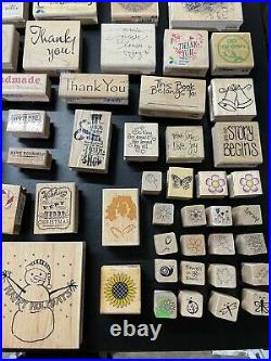 Huge Lot of 125 Wooden Rubber Stamps Vintage Variety Themed Set Classic