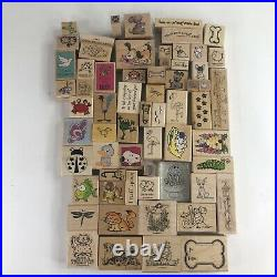 Huge Lot of 133 Animal Themed Wooden Rubber Stamps Vintage Variety Set Classic