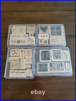 Huge Stampin Up! Lot 200 Assorted Wood Mount Rubber Stamps Sets and Individuals