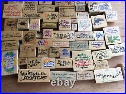 Lot Of 75 Medium Rubber Stamps With Wood Backing Spiritual / Family / Assorted