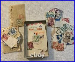 Lot Of Assorted Stamps With Water Detector And Stamp Catalog Book Letters