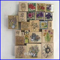 Lot of 55 Flower Themed Wooden Rubber Stamps Vintage Classic Floral Variety Set