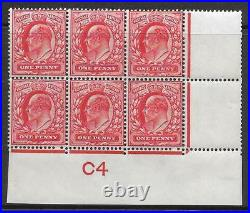 M5ha Variety 1d Scarlet Control C4 Perf type V1 plate 9 RARE UNMOUNTED MINT