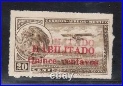 Mexico #C39b VF Mint Double Surcharge Variety With Certificate