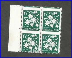 New Zealand Scott 340 missing color variety and misperfed mint nh block of 4