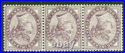 SG 172 1d lilac variety inverted watermark. Fine unmounted mint strip of 3