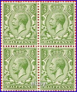 SG. 354. Variety N14 (11). ½d Bright yellow green. A SUPERB unmounted mint block