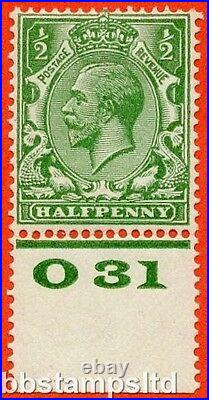 SG. 418 variety N33 (4). ½d Bright Green. A fine mounted mint control 031 perf
