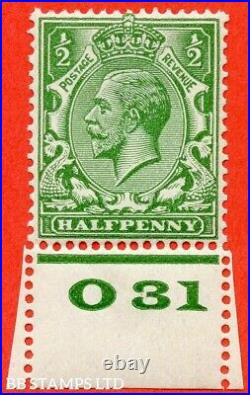 SG. 418 variety N33 (6). ½d Yellow Green. A fine UNMOUNTED MINT control B41605