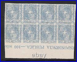 Spain #166 XF Mint Imperforate Triple Impression Imprint Block Of Eight Variety
