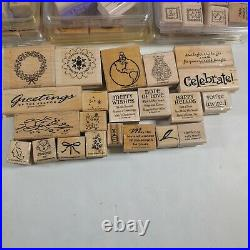 Stampin Up Lot Of 200 Assorted Wood Mount Rubber Stamps