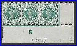 ½d Green Jubilee control R strip of 3 variety perf E MOUNTED MINT